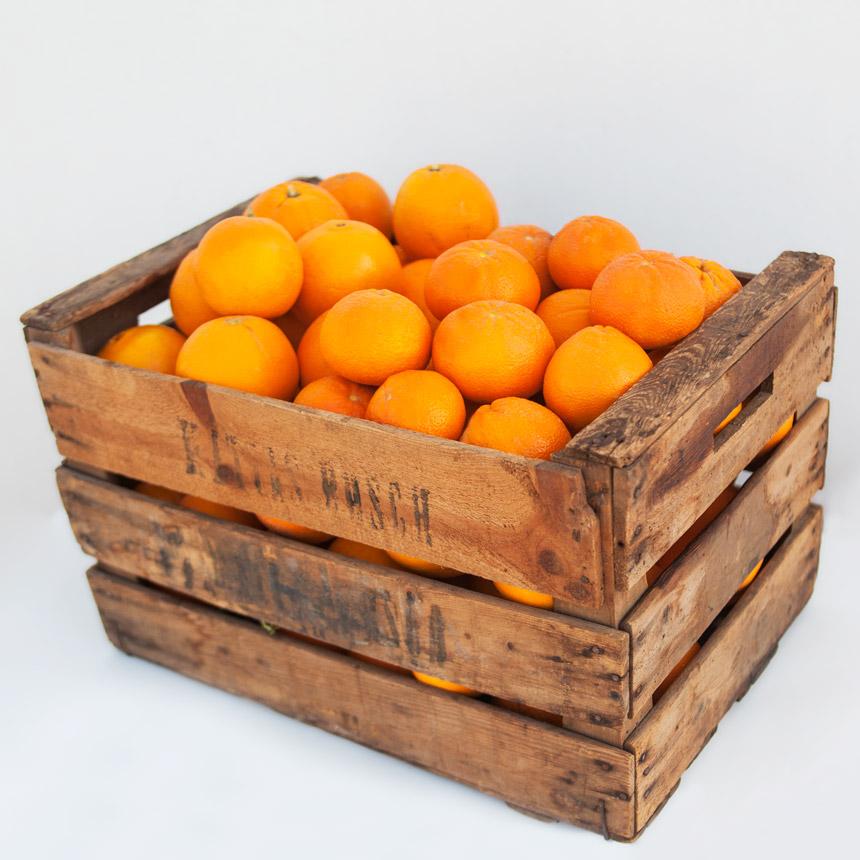 Caja de naranjas para zumo y de mesa