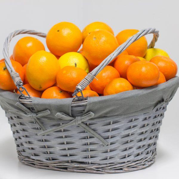 Naranjas para regalo en cesta de mimbre Azul calidad Valenciana