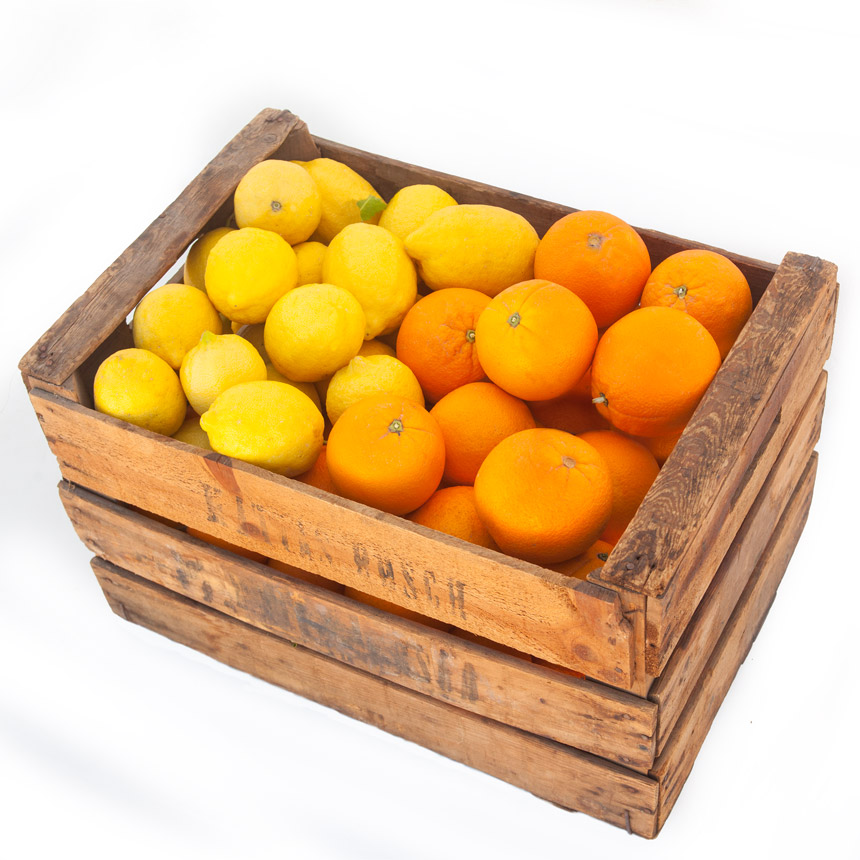 Caja mixta de naranjas de mesa y limones